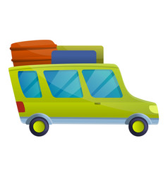Tourist travel car icon cartoon style vector