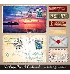 Travel Vintage Postcard Design with antique look vector