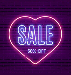 Valentines day sale neon glow retro template vector