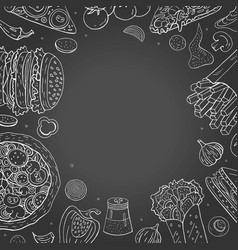 Vintage fast food collection background hand vector