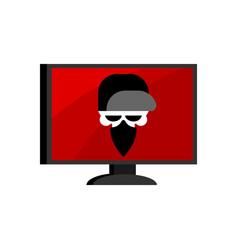 virus in computer skull hacker head of vector image