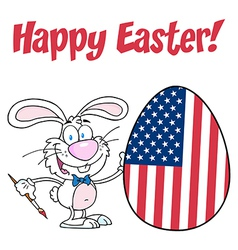White Happy Easter Bunny Painting Egg vector image vector image