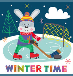 winter poster hare plays hockey vector image