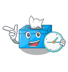 With clock cartoon tissue box in the restaurant vector
