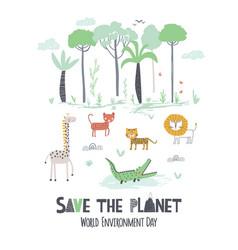 world environment day childish hand draw card vector image