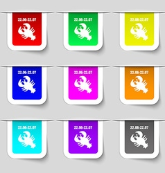Zodiac Cancer icon sign Set of multicolored modern vector