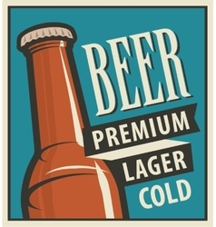 beer bottle in retro style vector image