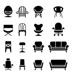 chair icon set in front view vector image