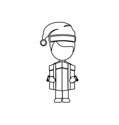 figure person with box gift icon vector image