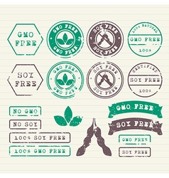 GMO and Soy free stamps set vector image