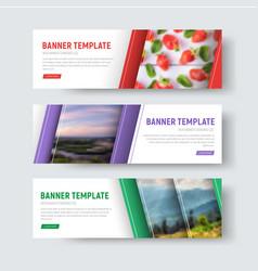 set of white horizontal web banners vector image