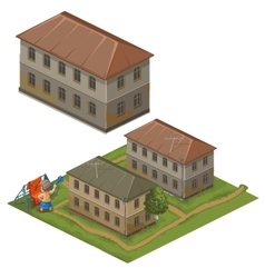 Three houses and hostess on street clothes to dry vector image
