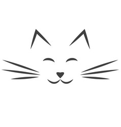Black cat face icon isolated on white vector