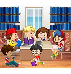 Boys and girls reading in library vector image vector image