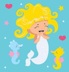 Amusing Little Mermaid and seahorses vector image