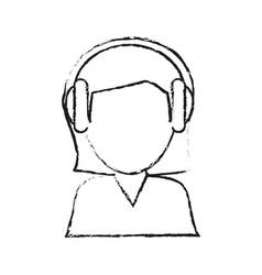 blurred silhouette image cartoon half body female vector image vector image