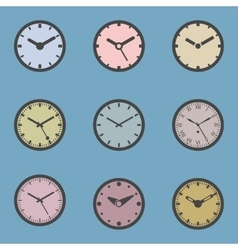 Colored Clock Icon Set vector image vector image