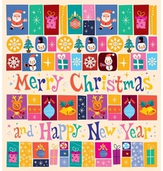 Merry Christmas and Happy New Year retro Greeting vector image
