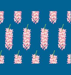 pink wisteria on indigo blue background vector image vector image