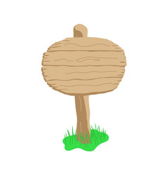 round shape cartoon wooden sign isolated on white vector image vector image