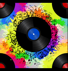 Seamless texture with a vinyl record music notes vector
