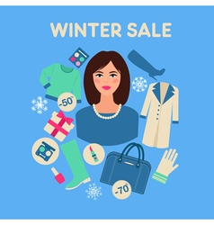 Shopping Winter Sale in Flat Design with Woman vector image vector image