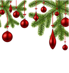 white background with red christmas balls vector image vector image