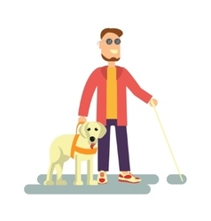Blind person with guide dog vector image