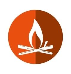 bonfire wood camping design orange circle shadow vector image