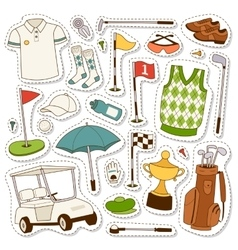 set of stylized golf icons vector image vector image