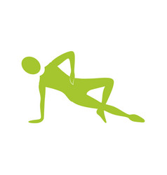 Silhouette woman stretching with support in one vector
