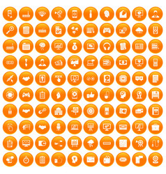 100 web development icons set orange vector image