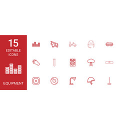 15 equipment icons vector image