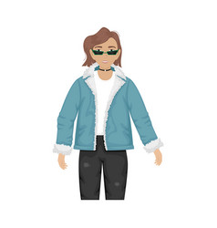 A fashionable girl in a denim jacket vector