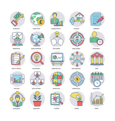 A set of flat business icons vector