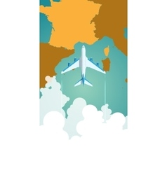 Airplane flying through clouds above map of vector