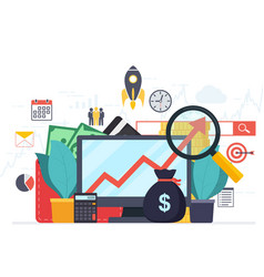 Analysis web analytics and business development vector