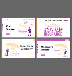 Aviation insurance life and health protection vector