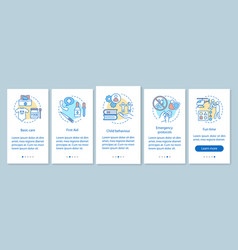 Babysitting onboarding mobile app page screen vector