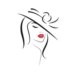 beautiful stylish woman in hat vector image