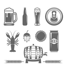 Beer and brewery monochrome design elements vector