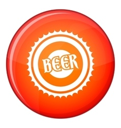 Beer bottle cap icon flat style vector