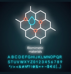 Biomimetic materials neon light icon biological vector