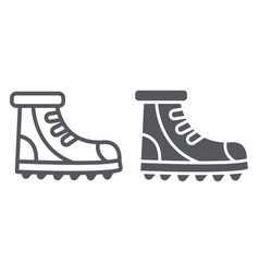 Boot line and glyph icon footwear and hiking vector