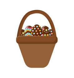 Brown hamper with eggs easter inside vector