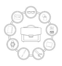 Businessman handbag contents vector image vector image