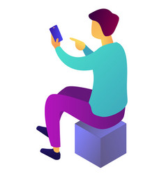 businessman using smartphone sitting on cube vector image