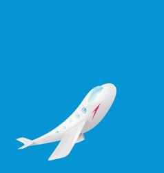 cartoon airplane flying in blue sky vector image