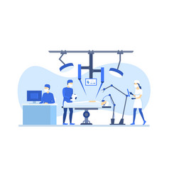 cartoon color characters people robotic surgery vector image