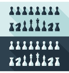 Chess figures set in flat modern style for design vector